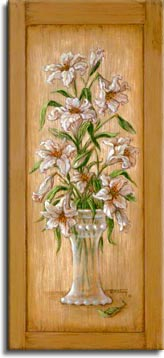 Janet Kruskamp's Paintings - Lily Cupboard, an original oil painting on an antique cupboard of an elegant vase holding an arrangement of lilies. One of the Gardens and Florals Gallery of Original Oil Paintings and  original paintings by Janet Kruskamp