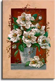 Janet Kruskamp's Paintings - Magnolias En Rouge, an original oil painting showing a lovely vase of cut magnolia blossoms coming through in front of the frame in the painting. A deep rich red wall is contrasted by the white petals and light grey classical vase on a gray shelf. A lone magnolia blossom lays next to the vase on the shelf. One of the Still Life Gallery of Original Oil Paintings and  original paintings by Janet Kruskamp
