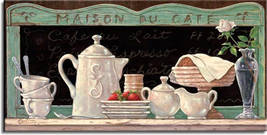 Maison Du Café, a newer original paintings,  always hand by Janet Kruskamp. This oil painting of an antique coffee set that was gently used for breakfast along with fresh strawberries and croissants. Only the delicate single rose knows how romantic this meal really was.