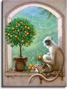 Monkey and Orange Tree, a painting of a monkey resting on a leopard skin pillow sampling an orange from an orange topiary tree, one of Janet Kruskamp's Original Oil Paintings, ,  by artist Janet Kruskamp