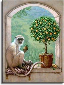 Monkey and Pear Tree, a painting of a monkey resting on a leopard skin pillow sampling a pear from a pear topiary tree, one of Janet Kruskamp's Original Oil Paintings, ,  by artist Janet Kruskamp