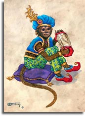 Monkey with Concertina, an oil painting of a monkey clothed in green pattern pants, a blue vest, red shoes and blue turban with a feather, sitting on a tasseled pillow, holding a concertina with both hands. The painting has a wide brown decorated border framing an off-white background. One of Janet Kruskamp's original paintings,  by artist Janet Kruskamp