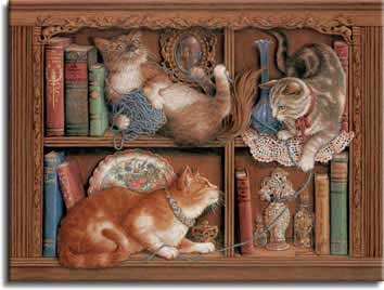 Morning Mischief, a painting by Janet Kruskamp showing three cats playing with a roll of yarn on a pair of bookcase shelves- Cat Paintings Gallery -  original paintings, by Janet Kruskamp.