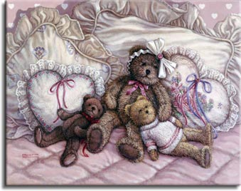 Nap TIme, a painting of three teddy bears reclining on the lace pillows of a comfy bed, one of the Janet Kruskamp Teddy Bear Gallery of  Original Oil Paintings by Janet Kruskamp