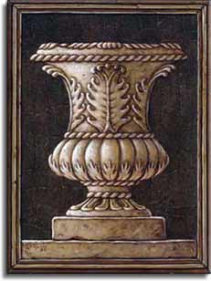 Neo Classical Urn, a painting of a classical style round urn sitting on top of a square base and finally all sitting on another level. The ornately carved urn narrows to a small diameter before spreading out at the base. The dark chocolate colored background is bordered by a dimensional wooden frame. This is a new giclee , personally enhanced and by artist Janet Kruskamp.