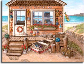 Ocean Treasures, another giclee,  personally enhanced and then hand by the artist, Janet Kruskamp. This adorable little one room building at the seashore holds treasures inside and out. An old rowboat named Intrepid nestles among the short pilings in front of the plank porch. Round colored glass floats in fishing nets decorate the posts and hang down from the side of the building. Shells, driftwood sculptures and a closed sea ches with mysterious strands of shells decorate the landscape and porch.