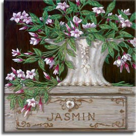 Paquet de Jasmine. Soft delicate Jasmine, fill the canvas in the  oil painting. Light pinks, burgundies, and greens brighten up the dark background. The antique vase is detailed with an engraved border and small daisies centered in the porcelain. A hand crafted herb box made just for jasmine consumes the lower portion of Janet's original painting.