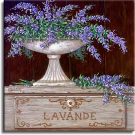 Paquet de Lavande. You can almost smell the sweet lavender displayed in this giclee. The soft purple lavender is over flowing in an antique vase, resting on a beautiful hand crafted, wooden storage box. One of Janet Kruskamp's wonderful  giclees  by the artist herself.