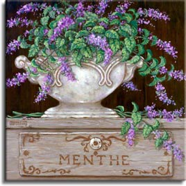 Paquet de Menthe - Janet used bright purples and greens in Paquet de Menthe. Another antique vase is filled with menthe that overflows onto the engraved menthe box. Such detail in all four herb still lifes and the vast contrast in colors makes each one different and beautiful. Individually they are gorgeous, displayed together they are magical.