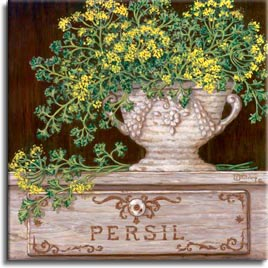Paquet de Persil. Lovely soft yellow flower buds and pale green leaves are shown here stuffed in an antique vase. The porcelain vase sits proudly on the Persil display box. This oil painting is lighter in color but still has the power and presence of any piece done by Janet Kruskamp. Like all of Janet's original paintings, this too has been hand by the artist.