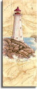 Peggys Cove Light, a painting of a lighthouse painted against a hand painted map, showing the region and the spot where the lighthouse is located, one of Janet Kruskamp's original paintings,  by artist Janet Kruskamp