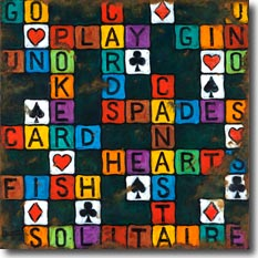Play Cards, another original painting available from Janet Kruskamp Studios. This colorful image features card game related words in a crossword layout, including hearts, spades, gin, fish, go, play, cards and canasta. Interspersed in the layout are card suits symbols: hearts, spades, diamonds and clubs. The sign is heavily weathered, especially around the edges, showing rusted worn areas. This painting is available for purchase as an original oil or acrylic on canvas painting by the artist Janet Kruskamp.
