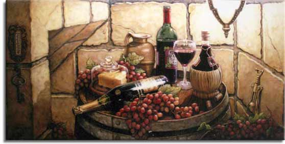 Private Reserve, a new painting by artist Janet Kruskamp shows a corner of the cellar with the owners private reserve sitting on top of an oak wine barrel. Included are a block of cheese under glass, a glass of red wine and the opened bottle behind it, bunches of red grapes and a tan pitcher. A champagne bottle and a chianti bottle fill up the overflowing barrel top. One of the Still Lifes Gallery of Original Oil Paintings and original paintings by Janet Kruskamp