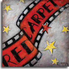 Red Carpet 2, an original painting by artist Janet Kruskamp, turns the red carpet into a vintage strip of motion picture film, complete with sprockets in the film along the black edges. Golden stars contrasted by a solitary red star complete the weathered grey background. The red carpet is a long-standing tradition in Hollywood, turning movie premiers into celebrity sighting events. Throughout the decades the red carpet has been associated with expensive gowns, immaculate tuxedos and the well coiffed