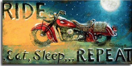 Ride, an iconic poster from artist Janet Kruskamp available as an oil on canvas. A starry, moonlit night on the right side of this vintage looking poster is washed out by the warm glow of a motorcylce headlight heading left. The beatiful red road bike features a leather saddle seat with fringe, a matching fringed saddleback is draped over the ample rear fender. The words RIDE, Eat, Sleep, REPEAT frame the vintage bike. Available in two sizes, original oil on canvas will delight any motorcycle enthusiast.