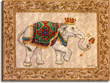 Royal Elephant I, a giclee , by the artist Janet Kruskamp. This original oil painting is one of a set of two paintings showing Royal Elephants. Royal Elephant I depicts a light colored elephant facing right, decorated with a crown, gold bands and tips on the tusks, a brightly colored carpet over his back and holding a sceptre in his trunk. A wide decorated border frames a parchment like background.