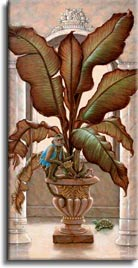 Royal Pet 1, a painting of a royal pet monkey on a potted banana tree, one of Janet Kruskamp's original paintings,  by artist Janet Kruskamp