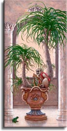 Royal Pet 2, a painting of a royal pet monkey on a potted palm tree, one of Janet Kruskamp's original paintings,  by artist Janet Kruskamp