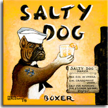 Salty Dog, another poster painting from Janet Kruskamp, shows a boxer dog dressed as a sailor with white sailor's cap and black scarf offering up a frosty drink glass rimmed with salt and garnished with a lemon wedge. A colorful anchor tatoo on the dog's arm complete the sailor motif. The recipe for a salty dog drink sits in the lower right corner of the bright sunburst yellow background on a paper scroll. One side of a black bottle is shown along the right side and going off the bottom of the painting. The title SALTY DOG across the top is balanced by the breed BOXER across the bottom. A whimsical poster by Janet Kruskamp available from the artist.