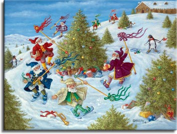 Santa's Elves Celebrate, a new holiday painting from Janet Kruskamp. Santa's Elves race around a Christmas tree in this holiday painting. Each elf, dressed in different colors with matching coat, shoes and hats, and the elves also carry a pole topped by a colorful decoration in a color that matches their dress, with ribbons streaming back as the elves race by on short pale blue skiis. Their snowy course through a hillside of Christmas trees is marked by skiing bowtied penguins holding little orange banners. Wrapped and unwrapped presents are scattered about, mostly under the Christmas trees. A large building sits at the top of the hill. A whimsical holiday painting for 2007 for sale as an Original Painting by artist Janet Kruskamp.