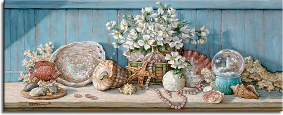 Janet Kruskamp's Paintings - Sea Shell Collection I, an original oil painting of a wooden shelf holding a sea shell collection against a light blue wooden wall. A basket with a large bouquet of white flowers is surrounded by scallop, abalone, turban, whelk shells as well as a piece of coral. An artificial tropical fish swims in front of a display on the left. A snowglobe of a lighthouse sits on the right side as a single strand of small pink shells weaves around a sand dollar and through the basket in the center. One of the Still Lifes Gallery of Original Oil Paintings and  original paintings by Janet Kruskamp