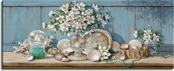 Janet Kruskamp's Paintings - Sea Shell Collection II, an original oil painting of a wooden shelf holding a sea shell collection against a light blue wooden wall. A glass vase with a large bouquet of white flowers is surrounded by half a scallop shell, a large abalone shell, whelk shells, cowries and other bivalve clam type shells. A small wicker basket holds more shells and a sand dollar. A snowglobe of a sailboat on the left as a single strand of small green shells weaves around the basket and a small water glass holding more flowers on the far right. One of the Still Lifes Gallery of Original Oil Paintings and  original paintings by Janet Kruskamp