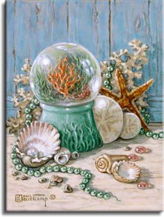 Sea Shell Collection 3, another fabulous still life from Janet Kruskamp. This painting continues the Sea Shell Collection from number one and two, with treasures from the sea on a wooden table or shelf in front of a light blue wooden wall. The wall shows the grain and surface of the wood, the wooden shelf or table the shells sit on is barely finished, showing a natural color and a lovely woodgrain. A piece of white coral sits up against the backdrop, holding a string of green pearls behind a thin starfish leaned against the coral. In the middle of the composition there is a glass ball filled with water sitting on a decorative sea green stand. The globe holds a beautiful underwater scene, with orange and green fantasy trees mimicing the decoration on the globe's base. Scattered green and pink shell beads, a few smaller shells, and an open half shell with a large white pearl make up the foreground of the painting. Another original painting for sale from artist Janet Kruskamp