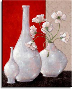 Janet Kruskamp's Paintings - Silver Leaf and Poppies I, an original oil painting of three beautiful silver leaf vases. One large bulbous vase holds white poppies with fringed petals. The center is commanded by a tall, long necked empty round vase. The left vase is a smaller, more delicate version of the center vase, only on a flared round base. The background is split between a dark rich red and a light gray pattern, with the vases sitting on a black suface. One of the Still Life Gallery of original oil paintings or  original paintings by the artist, Janet Kruskamp