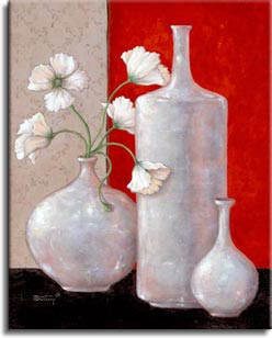Janet Kruskamp's Paintings - Silver Leaf and Poppies II, an original oil painting of three beautiful silver leaf vases. One large bulbous vase holds white poppies with fringed petals. The center is commanded by a tall, cylindrial short necked empty round vase. The right vase is much smaller, with a narrow, delicate neck. The background is split between a dark rich red on the right, and a light gray pattern, with the vases sitting on a black suface. One of the Still Life Gallery of original oil paintings or  original paintings by the artist, Janet Kruskamp