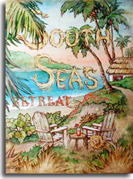 South Seas Retreat, one of the new vintage travel posters series by artist Janet Kruskamp. This lush poster is framed by the palm trees at the top and sides and vegetation across the bottom. Two wooden Adirondak style chairs sharing a small table between overlook the sparkling blue water and white sandy beach below. A thatched hut whitewashed building sits at the end of the path curving up the bluff. A bright tropical drink complete with paper umbrella sits on the small table between the chairs. A beach umbrella peeks out from behind the rise overlooking the beach. The words SOUTH SEAS in the middle of the poster are made of light brown grasses, the S letters tied at the ends to keep them together. a rough straw hat on one of the chairs completes the idyllic tropical setting. This original painting is available from the artist, Janet Kruskamp.