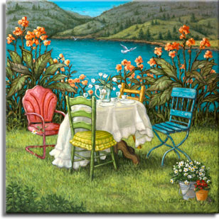 Table for Four, an idyllic painting by artist Janet Kruskamp, one of her Exterior series. In front of an azure lake a table with white tablecloth is set for four with small plates, cups and saucers, and stemware water glasses. A clear pitcher holds white flowers in the center of the table. The four chairs are a colorful mismatch, a faded red outdoor metal chair, a blue wooden slat chair with thin metal legs, a green wood with yellow seat cushion dining chair, and another wooden one. A bucket of miniature daisies and a small pot of red flowers sit on the grass in the lower right foreground and tall orange flowers behind the table frame the view of the lake. Hills rise up on the far side of the lake with two birds in the air over the lake. The original oil painting is available directly from the artist, Janet Kruskamp.