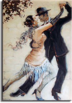 Tango Allure, an original oil painting by Janet Kruskamp available as an Original Oil Painting in various sizes. The romantic image features a man and woman tango dancers, captured at the peak of a move to the right, hands in the front are stretched high together, back legs are thrust out to the left. Her front leg is bent and between his, both dancers are fully extended in a classic pose. Her feathery scarf billows behind her neck, and the fringed bottom of her dress hangs between her legs. The dancers are posed in front of a soft white block wall, topped by the tip of a tree branch in the upper left corner.