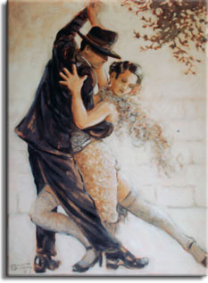 Tango Passion from painter Janet Kruskamp. Own your own Original Oil Painting of this beautiful original oil painting by artist Janet Kruskamp. The tango dancers curve together, back arms held high, the woman's back leg bent at the knee and front leg extended hehind, lowering her down to where the top of her head comes to his shoulder. The dancers perform in front of a light colored block wall, with the end of a tree branch in the upper right corner. One of the Figures and Genre gallery of paintings by artist Janet Kruskamp.