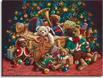 Teddy Bear Christmas, a new holiday painting from Janet Kruskamp. Teddy bears come out everywhere in this Christmas painting. Gaily dressed, the bears are in and around a large brown canvas bag full of presents and bears. A trumpet and drum poke out the top of the bag, sitting in front of a large christmas tree decorated with bulbs, bear ornaments, and soft blue lights. A top sits on the rust colored carpet in front of a bear wearing a lace collar. A fully dressed brown bear sits on the right holding a large candy cane. One of the Janet Kruskamp Teddy Bear Gallery of Original Paintings hand by Janet Kruskamp.