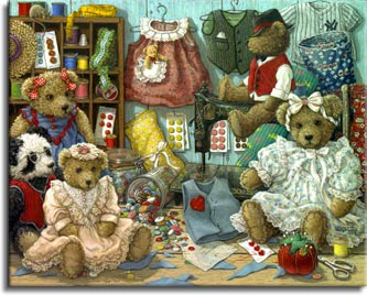 Teddy Bear Wear, a painting of teddy bears and various teddy apparel in stages from pattern cutting to assembly. Buttons are spilling out a tipped over jar, while button packages are on the wall and table. A well worn pin cushion sits with the scissors in front. One of the Janet Kruskamp Teddy Bear Gallery of Original Oil Paintings and  Original Oil Paintings by Janet Kruskamp