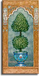 Temple Topiary 1, a painting of a carefully sculpted tree in a blue planter, one of Janet Kruskamp's original paintings, by artist Janet Kruskamp