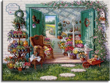 Janet Kruskamp's Paintings - The Blossom Shoppe, a painting of a flower shop in front of the flower fields in the distance outside the open back door. Flowers frame the open double doorway to the shoppe as vines on the wall and many, many containters on a round multi-tier display next to the door. A gazing ball sits inside the open door leading into the shoppe. One of the Gardens and Florals Gallery of Original Oil Paintings and  original paintings by Janet Kruskamp