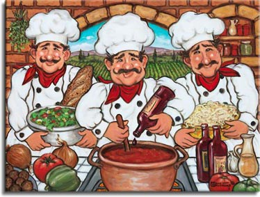 Three Happy Chefs, another original painting available from Janet Kruskamp Studios. This colorful image features three chefs dressed in kitchen white with hats, and a bright red kerchief around each one's neck. In the center, a chef is adding a drop of wine to the pot of red sauce simmering on the stove. The chefs on either side hold a bowl of salad and a bowl of pasta noodles. Ingredients cover the counter in front of the chefs, onions, tomatoes, peppers, garlic, oil, wine and meatballs. The brick back wall looks through an arched window to the farm rows behind. This tasty painting is available for purchase as an original oil on canvas painting by the artist Janet Kruskamp.