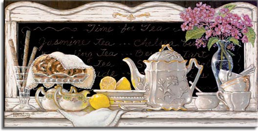 Time for Tea, an original oil painting of a lovely white porcelain tea set with tea pot, creamer, sugar bowl, plates, cups and spoons. A thin clear glass vase with small purple flowers decorate the weathered white wooden sideboard framing the painting. Freshly cut lemons await their use. Delicious looking rolls on a round crystal tray peek out from under an embroidered lace cloth accompanied by a holder of rolled tubular pastries. Time for Tea is , then enhanced and hand by Janet Kruskamp.