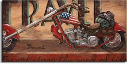 Travel, an iconic poster from artist Janet Kruskamp. Ms. Kruskamp has taken the chopper motorcycle image and given it new life, loading the motorcycle with a bedroll, a broad-brimmed hat, and topping it off with a red, white and blue gas tank painted as an American flag. Displayed on a narrow platform the chopper, with it's rich red stylish fenders and frame, sits in front of the tall word TRAVEL,and underneath the bike is written out in longhand Travel down the road of life. The richly textured background, weathered and scuffed enhances the poster's vintage look. This unique look at Americana on two wheels is available directly from the artist, Janet Kruskamp.