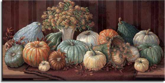 Tuscan Harvest, a new painting by artist Janet Kruskamp. The shades of these beautiful squash and watermelon has to be seen to be appreciated. The subtle range of fall colors - greens, golds, browns, and yellows are faithfully reproduced in this painting of a table full of the the harvest. Fall leaves and a vase of flowers accentuate this warm, inviting image of earthtones. A thick brown mat sits under the squash and watermelons on top of a wooden table. One of the Still Lifes Gallery of Original Oil Paintings and original paintings by Janet Kruskamp