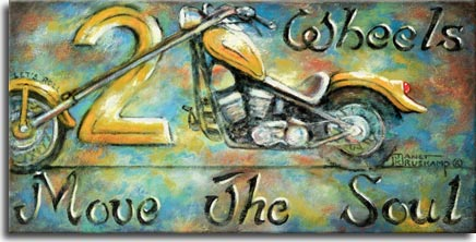 Two Wheels Move the Soul, a painting from artist Janet Kruskamp, shows a yellow colored chopper motorcycle with extended front fork. Flared funders and a custom seat pitched up toward the high handlebars complete the cycle. The mottled background of blues,yellows and browns shows rusty wear on the right side. This new painting is available directly from the artist.