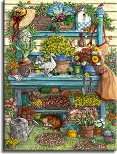 Janet Kruskamp's Paintings - Welcome to Spring. A beautiful blue potting bench against the side of the yellow house is loaded with flowers in colorful pots. White, red, yellow, organe, pink and salmon colored flowers fill this painting. Garden tools, gloves, an apron, a hat and a watering can complete the picture. An orange tabby cat is curled up napping under the bottom shelf of flowers while a kitten playfully reaches for a hanging piece dangling from the top shelf. One of the Gardens and Florals Gallery of Original Oil Paintings and  Original Oil Paintings by Janet Kruskamp