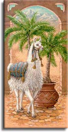 White Llama 1, a painting of a white llama standing in a royal courtyard next to a potted palm, one of Janet Kruskamp's Original Oils, ,  by artist Janet Kruskamp