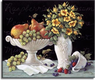 Wild Roses with Fruit, an enhanced oil painting of tangled pears and grapes lying in antique porcelain bowl. An antique vase stuffed with wild roses, and a matching coffee cup. Bright red straw berries and grapes cover the white linens and a black menu silently shows in the background. Wild Roses with Fruit is  has been hand by Janet Kruskamp.