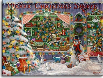 Merry Christmas Shoppe by artist Janet Kruskamp
